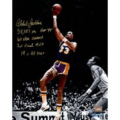 Kareem Abdul Jabbar Signed 16x20 Photo on Metallic Paper w Career Stats Insc. (LE of 33) - Basketball Legend Kareem Abdul-Jabbar personally hand-signed this Metallic 16x20 Photo and inscribed it 38387pts HOF 95 6x NBA Champ 2x Final MVP & 19x All-Star. When Kareem Abdul-Jabbar left the game in 1989 at age 42 no NBA player had ever scored more points blocked more shots won more MVP Awards played in more All-Star Games or logged more seasons. His list of personal and team accomplishments is…