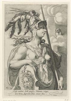 Jan Saenredam | Minerva, Jan Saenredam, Cornelius Schonaeus, 1575 - 1607 | Minerva, met een helm, een speer en het schild van Medusa. Ze kijkt naar een uil in de wolken. De prent is deel van een driedelige serie met de drie godinnen van het oordeel van Paris en heeft een Latijns onderschrift.