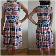 Vintage 40s Dress Women, Novelty print, Rare Dress, 40s Cotton Dress, Floral, Dots, Cotton, Lace,  Xsmall, Small, 1940s dress,