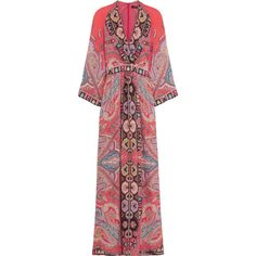 Etro Printed silk crepe de chine maxi dress (22.775 NOK) ❤ liked on Polyvore featuring dresses, orange, special occasion dresses, red cocktail dress, summer cocktail dresses, silk maxi dress and red wrap dress