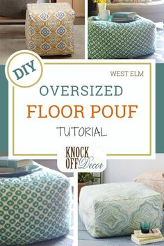 Oversized Floor Pouf Tutorial, Diy And Crafts, One of the best floor chair ideas to come around - the floor pouf! This soft ottoman seat can accommodate a bottom comfortably while also doubling as . Diy Divan, Floor Pouf, Floor Chair, Floor Cushions, Chair Cushions, Giant Floor Pillows, Knock Off Decor, Diy Ottoman, Sewing Tutorials