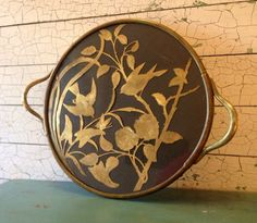 Brass and Glass Tray Vintage Detailed Brass by MossAndMagicVintage