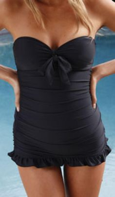 Ella Moss Solid Swimdress EM7491 in Black | Southbeachswimsuits