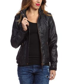 This Black Faux Leather Jacket by Montanaco is perfect! #zulilyfinds