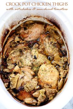 Paleo Crock Pot Chicken Thighs with Artichokes and Sun-Dried Tomatoes