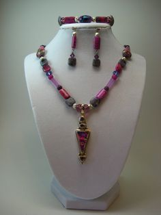 Fushia Fantasy Necklace Bracelet and Earrings by NancyHerrington, $125.00