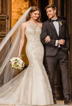 essense australia fall 2017 bridal sleeveless halter neck heavily embellished beaded bodice elegant glamorous mermaid wedding dress cross strap back chapel train (03) mv -- Essense of Australia Fall 2017 Wedding Dresses