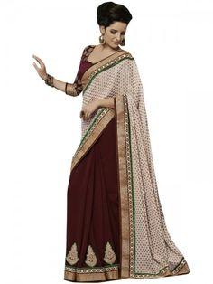 Cream Jacquard Designer Saree