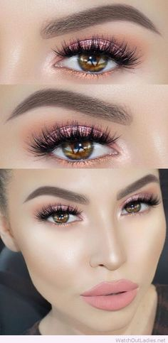 Light pink glitter eye makeup for brown eyes – Watch out Ladies