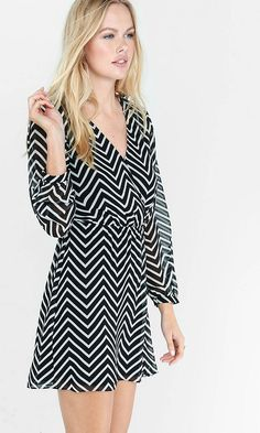 Chevron Print Long Sleeve Surplice Dress   Express