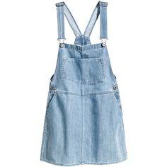 H&M Denim dress (245 MXN) ❤ liked on Polyvore featuring dresses, overalls, skirts, bottoms, light denim blue, blue button dress, blue dress, mini dress, short dresses and short blue dresses