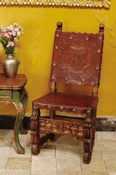 Custom Made Carved Side Chair With Tooled Leather By Mediterrania    CustomMade.com