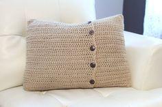Cyber Monday Etsy - Free Shipping Etsy - Tan Crochet Pillow Cover - 16 x 20. $75.00, via Etsy.