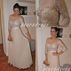 Nude Lace Beaded Chiffon Bridesmaid Dresses With by starsdress, $145.99