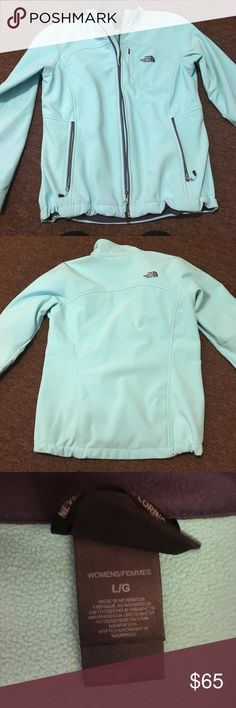 Women's north face softshell jacket. Women's large light blue North Face Softshell jacket. Looks brand new. Was worn maybe three times. Great condition it's just too big for me. Send me an offer!😊 The North Face Jackets & Coats