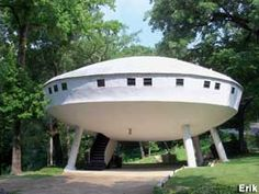 Flying Saucer House - location : Signal Mountain, just outside Chattanooga, Tennessee (currently a rental) - Some of what's inside : Bar area with 13 mirrors on wall, spiral staircase, living room, kitchen with dining area, balcony overlooking highway, two large bedrooms, two full baths...more