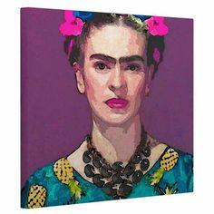 KESS InHouse Oriana Cordero Trendy Frida Kahlo Purple Teal Canvas Art - OC1063AAC01