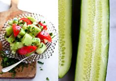 Melon, Cucumber and Tomato Salad -- had this last night, slightly modified, and it was awesome!