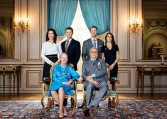 New official photo of Queen Margrethe II and Prince Henrik, Crown Prince Frederik and Crown Princess Mary, Prince Joachim and Princess Marie of Denmark.