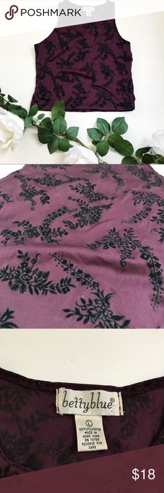 """Vintage Plum Top Pretty purple color with """"velvet"""" floral details all throughout the shirt. Has cut out detail on both side at the hem. It says size L but it would fit a Medium at most. Armpit to armpit it around 16 inches.   #vintage #purple #floral #fall #velvet #tanktop #fitted Vintage Tops Tank Tops"""