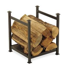 Pilgrim Hearth The craftsman wood holder keeps an armload of firewood handy on your hearth in impressive style. It's sturdy iron frame supports a natural slate base for quite a unique and different touch to firewood racks. Indoor Log Storage, Indoor Firewood Rack, Firewood Holder, Firewood Storage, Fireplace Tool Set, Fireplace Hearth, Fireplace Surrounds, Fireplace Ideas, Fireplaces