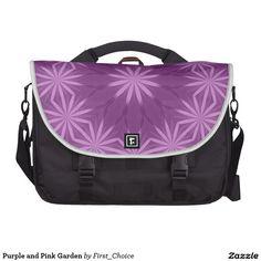 Purple and Pink Garden Laptop Messenger Bag