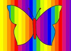Butterfly in rainbow colors - kunst Drawing For Kids, Painting For Kids, Art For Kids, Rainbow Art, Rainbow Colors, First Grade Art, Ecole Art, Abstract Sculpture, Pictures To Paint