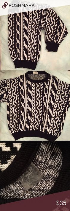 Vintage Oversized Sweater! Totally amazing vintage black and white patterned oversized grandpa sweater! Perfect condition! This is not a super soft sweater but it is not an itchy sweater at all! Would fit a small-medium or extra small if you like your sweaters more baggy! Vintage Sweaters Crew & Scoop Necks