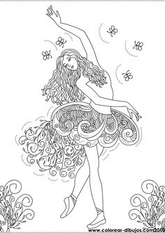 Dibujos de bailarinas para colorear; dibujos de bailarina hermosa para