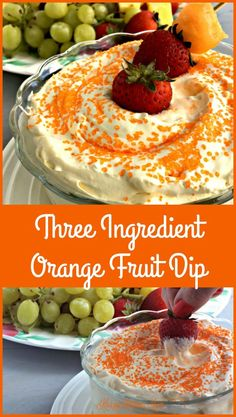 Three Ingredient Orange Fruit Dip is an easy, fast and scrumptious way to treat your family and friends to a fancy dessert. Fruit Recipes, Dessert Recipes, Cooking Recipes, Fruit Dips, Easy Recipes, Veggie Dips, Easy Fruit Dip, Fruit Trays, Fruit Snacks