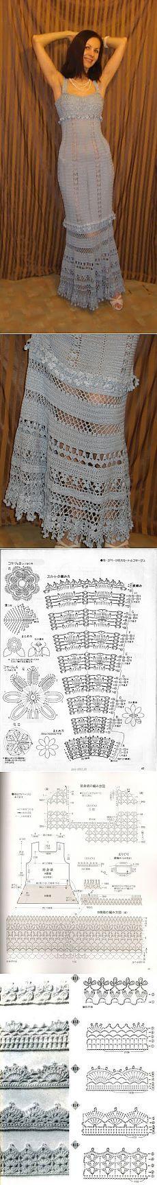 Красивейшее ажурное платье крючком с подробнейшим описанием. Пошаговые фото.
