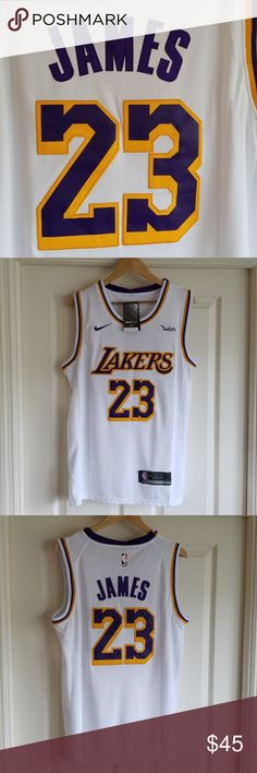 LEBRON JAMES LA LAKERS WHITE JERSEY MULTIPLE SIZES AVAILABLE STITCHED NAME  AND NUMBERS BRAND NEW WITH TAGS SWINGMAN SAME OR NEXT DAY SHIPPING NBA  Shirts ... b17b90f7d