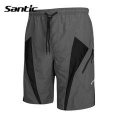 Santic Detachable Cushion ropa deportiva Mens Unremovable Foam Padded Cycling Shorts MTB Downhill Gray Shorts Cycling C05017