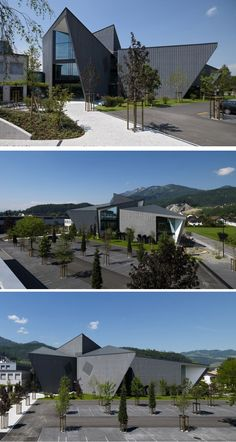 Davide Macullo Architects have designed the Jansen Campus in Oberriet Switzerland. Contemporary Architecture, Architecture Design, Modern Tech, Interesting Buildings, Switzerland, Architects, Villa, Public, Exterior