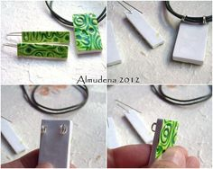 Great idea for using headpins to string a pendant - falsa cerámica verde by Almudena73, via Flickr