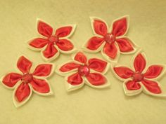 5 Pink and White Satin Flowers with Rhinestone by sweetiefluhr, $1.99