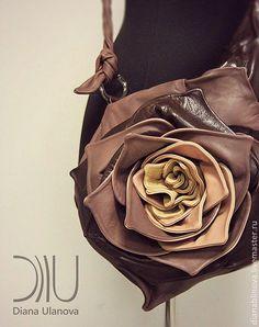 """Купить Сумка кожаная """"Роза"""" - коричневый, Кожаная сумка, сумка женская, сумка из натуральной кожи"""