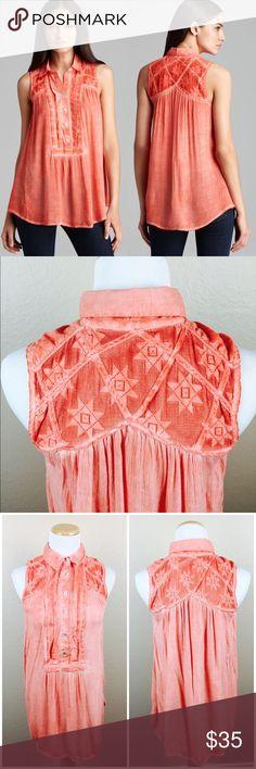 """Free People Coral Tunic Boho Button Down Beautiful lightweight coral tunic top by Free People. Size XS but fits relaxed. Sleeveless. In great Preowned condition with normal signs of fading. Go well with the style of the top. 88% Cotton/ 12% Nylon. Length: 29"""". Perfect for the spring and summer! Final price unless bundled. Free People Tops Tunics"""