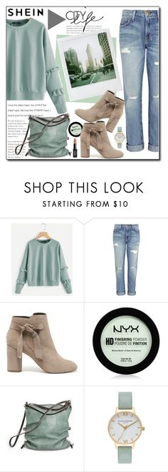 """""""SHEIN"""" by polybaby ❤ liked on Polyvore featuring Current/Elliott, Polaroid, Sole Society, NYX, Ina Kent and Olivia Burton"""