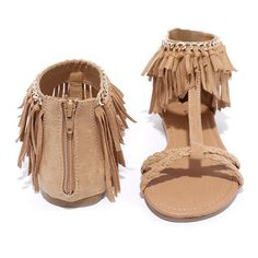 Good Vibes Toffee Brown Suede Flat Fringe Sandals ($25) ❤ liked on Polyvore featuring shoes, sandals, flat sandals, braided sandals, ankle cuff flat sandal, toe strap sandals and brown fringe sandals