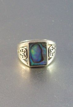 Vintage Sterling Abalone Ring Open Work Hearts by LynnHislopJewels