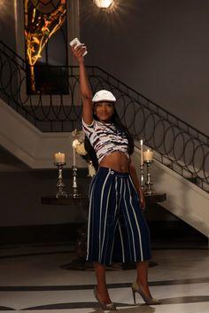 Zayday Williams wearing  Zara Striped Culottes