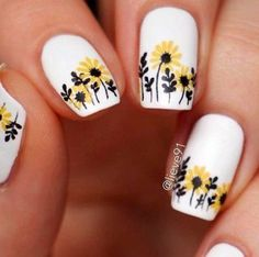 fox nails designs - 63 Bright Floral Nail Designs You Should Try for Spring 2019 Flower Nail Designs, White Nail Designs, Nail Designs Spring, Gel Nail Designs, Nails Design, Yellow Nail Art, White Nail Art, Matte White Nails, Blue Nail