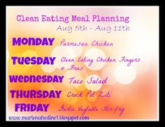 Clean Eating Meal Plan MONDAY !!