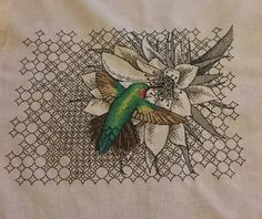 [FO] Hummingbird Cross Stitch with Blackwork Flower and background : CrossStitch