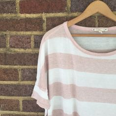 Soft Joie Stripped Loose Fit Top Soft and feminine, this loose fit, short sleeve shirt looks amazing with a pair of skinny jeans. The material is super thin and the cut is boxy to make for some fun draping. Tiny hole in front, and another that was professionally sewn.  ✨Reasonable offers considered ✨Bundle discounts offered Joie Tops Tees - Short Sleeve