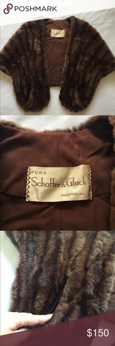 Gorgeous late 20's mink fur Shaw Schaffer & Gluck Decatur Illinois made Vintage Jackets & Coats