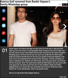 The story details how Katrina Kaif has been unceremoniously removed from ex-boyfriend Ranbir Kapoor's family WhatsApp group post their breakup.