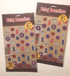 Western String Party Decorations Boots Stars Horseshoes Texas Classroom - 2 Pkgs #Amscan