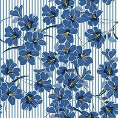 Verão fresco azul flores desabrochando Vetor Premium